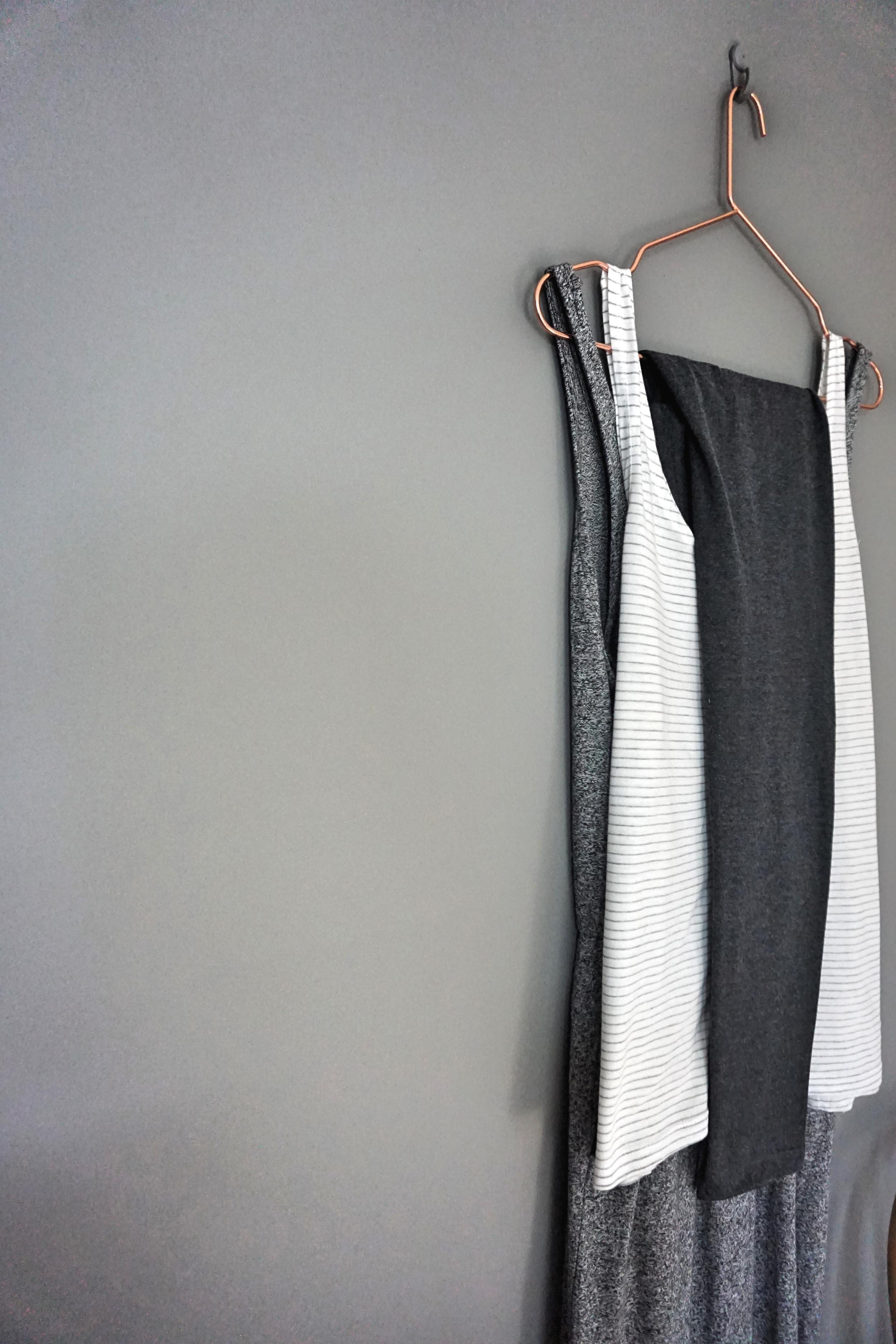1. Marl Grey Jersey Jumpsuit. 2.Pencil Stripe Cotton Vest. 3.Charcoal Leggings all  H&M.