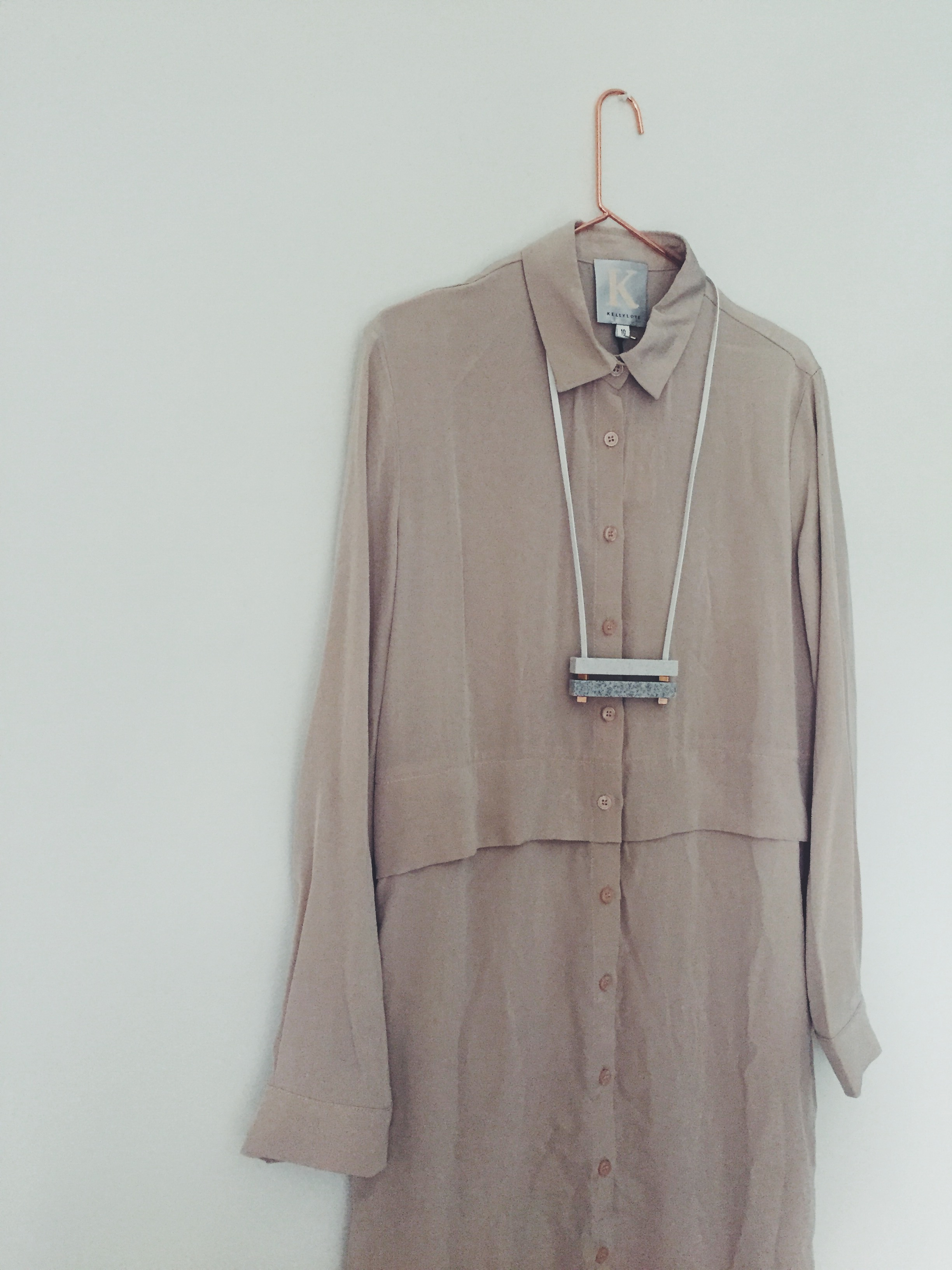 OBJECT STYLE KELLY LOVE NUDE SILK SHIRT DRESS