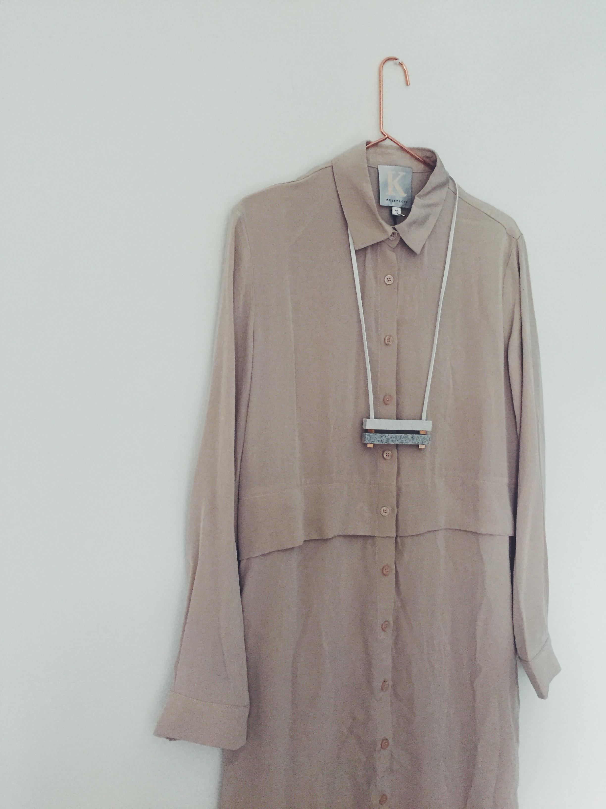 OBJECT STYLE KELLY LOVE NUDE SILK SHIRT DRESS