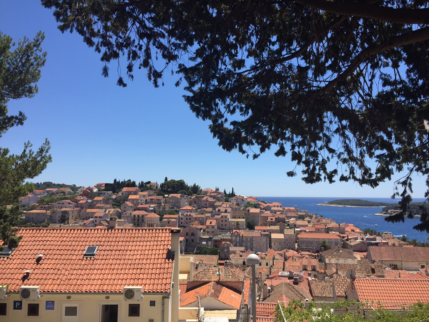 The tiled terracotta roofs of Hvar from above, taken whilst en route to the historic fortress.