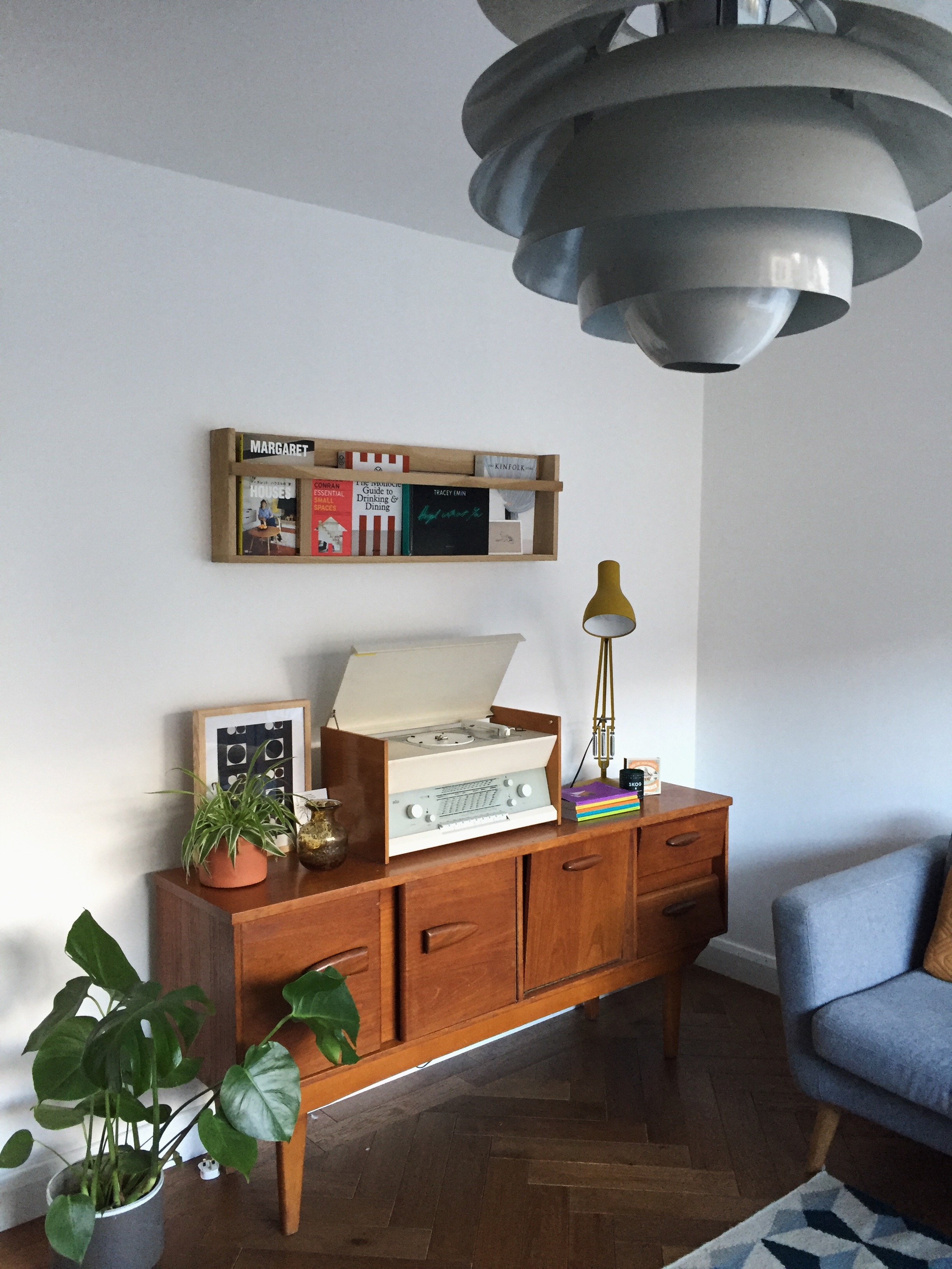 Image: Fifties G-Plan Teak Side Unit and Dieter Rams for Braun Stereo + Record Player both sourced from Ebay.