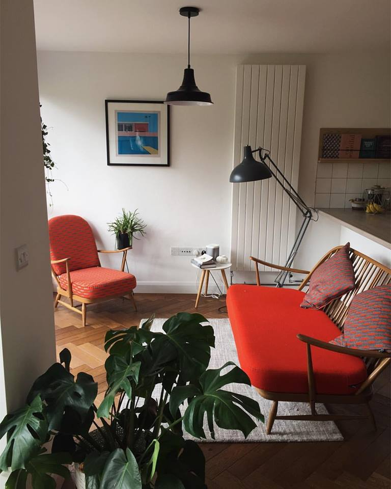 Image: Vintage Ercol Windsor Chair + Sofa sourced from Failsworth Mill, restored by Reloved Upholstery.