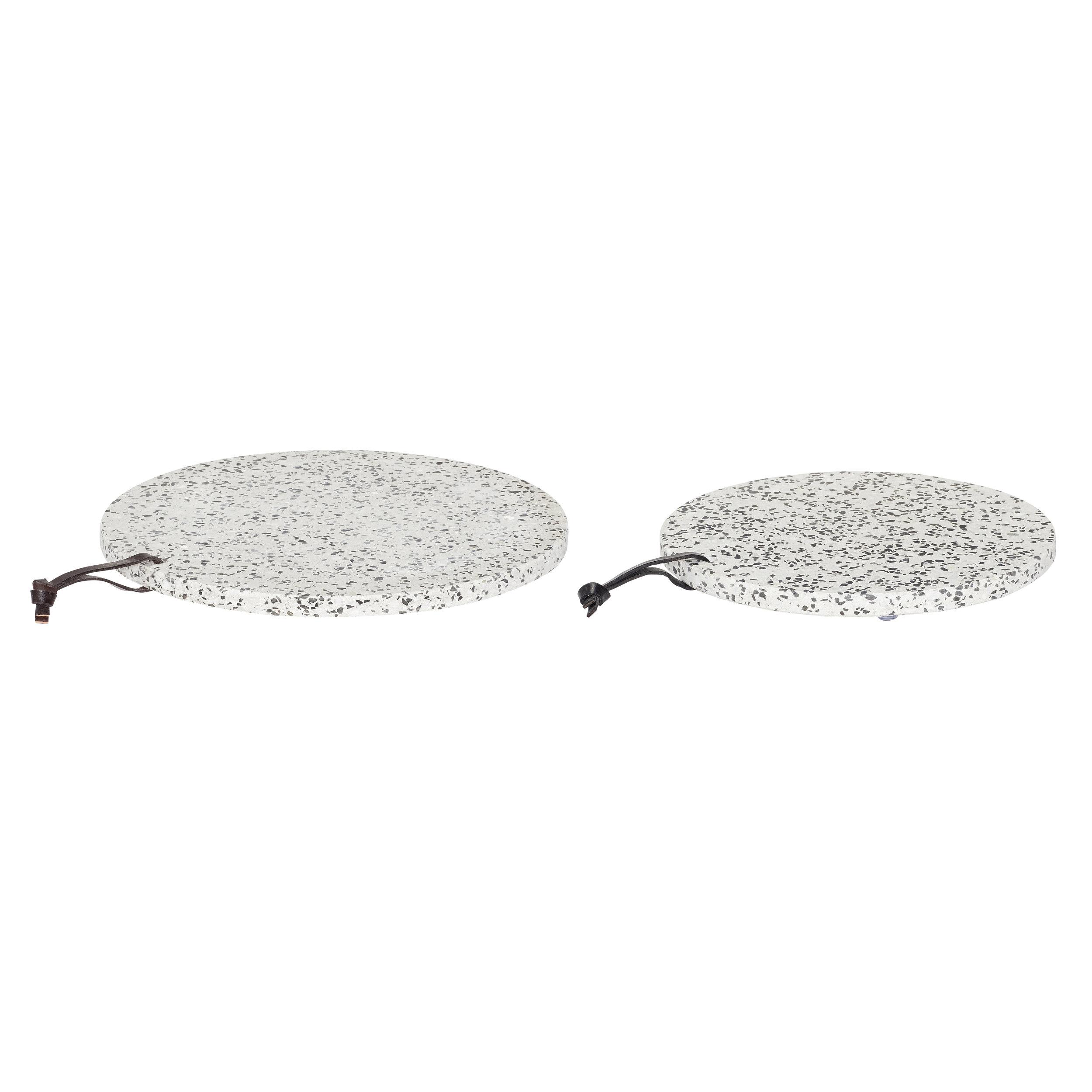 #015 Grey Terrazzo Serving Board   25cmxH2cm,30cmxH2cm Hire Price - £7.50 Minimum Order 3 per set Current Stock Available 12 per set