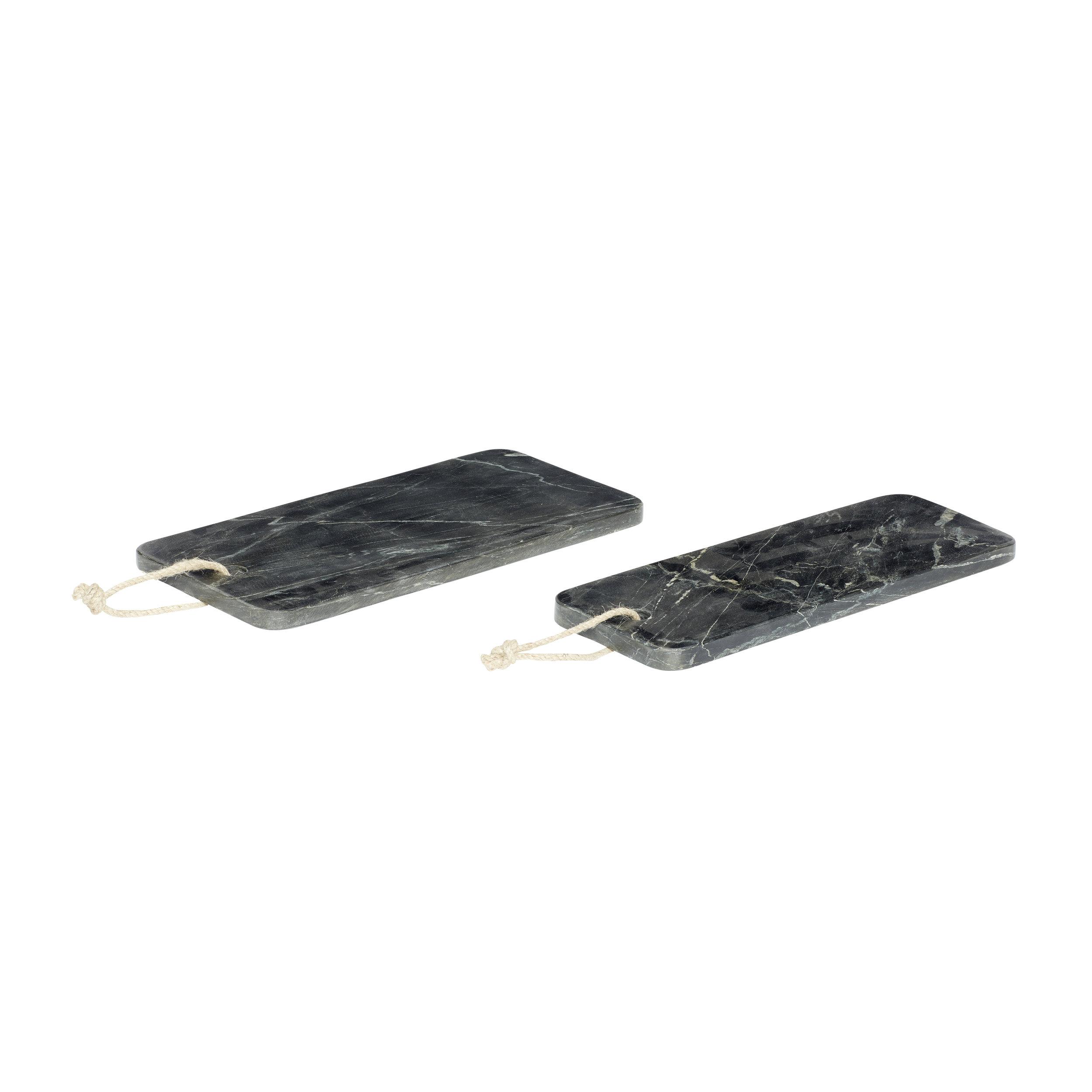 #016   Black Marble Serving Board Set   36cmx17cmxH:2cm,36cmx13cmxH:2cm Hire Price - £9 per set  Minimum Order 3 per set  Current Stock Available 12 per set