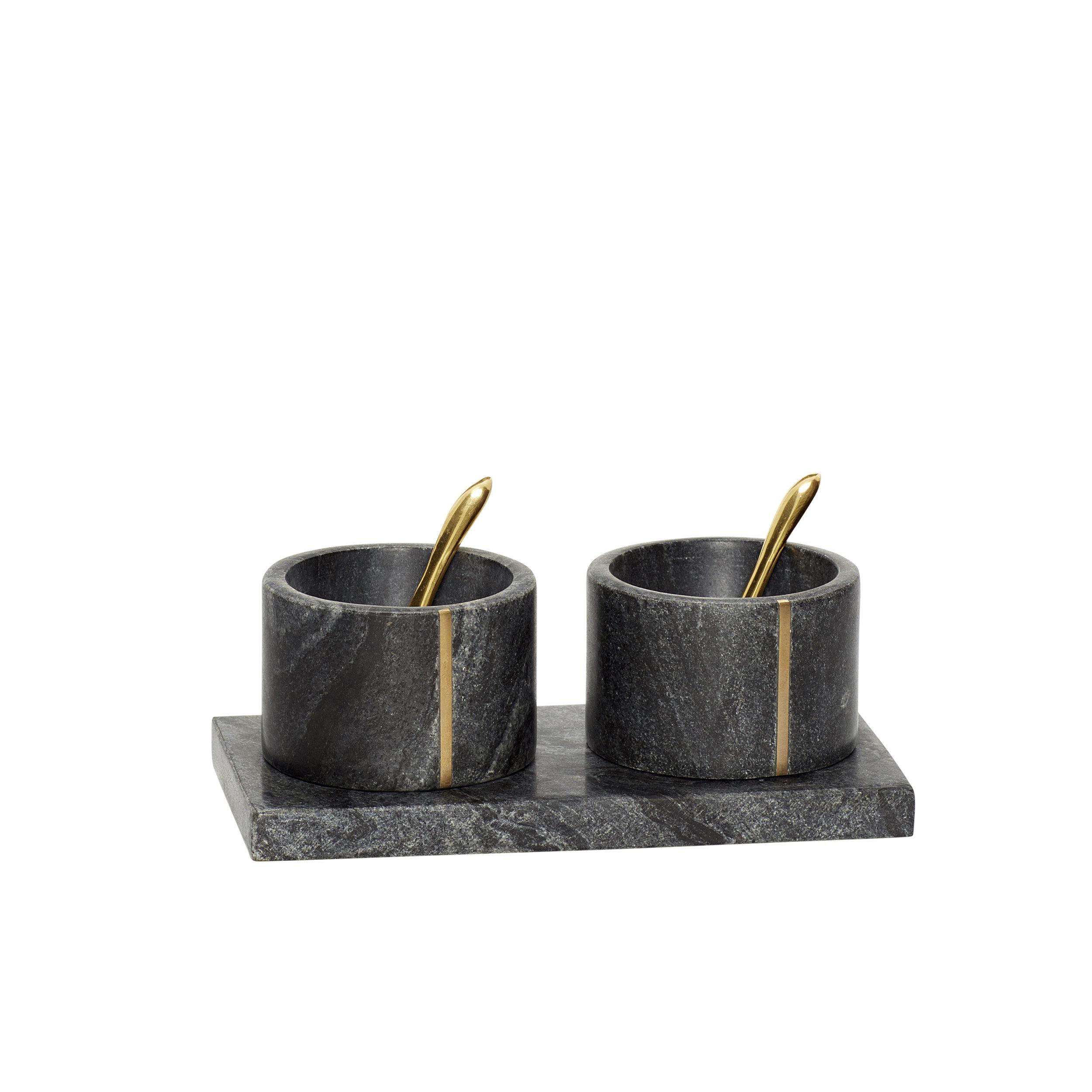 #017   Black Marble + Gold Spoon Serving Set   10cmx19cmxH:8cm Hire Price - £9 Minimum Order 3 Current Stock Available 12