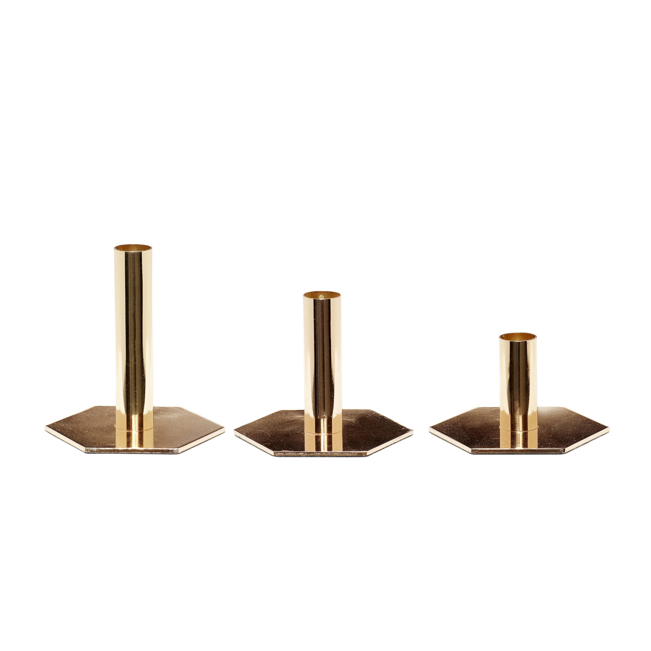 #037   Gold Candle Stick Set of 3   12xH7cm, 12xH10cm, 12xH13cm Hire Price per set - £6 Minimum Order 2 per set Current Stock Available 4 per set