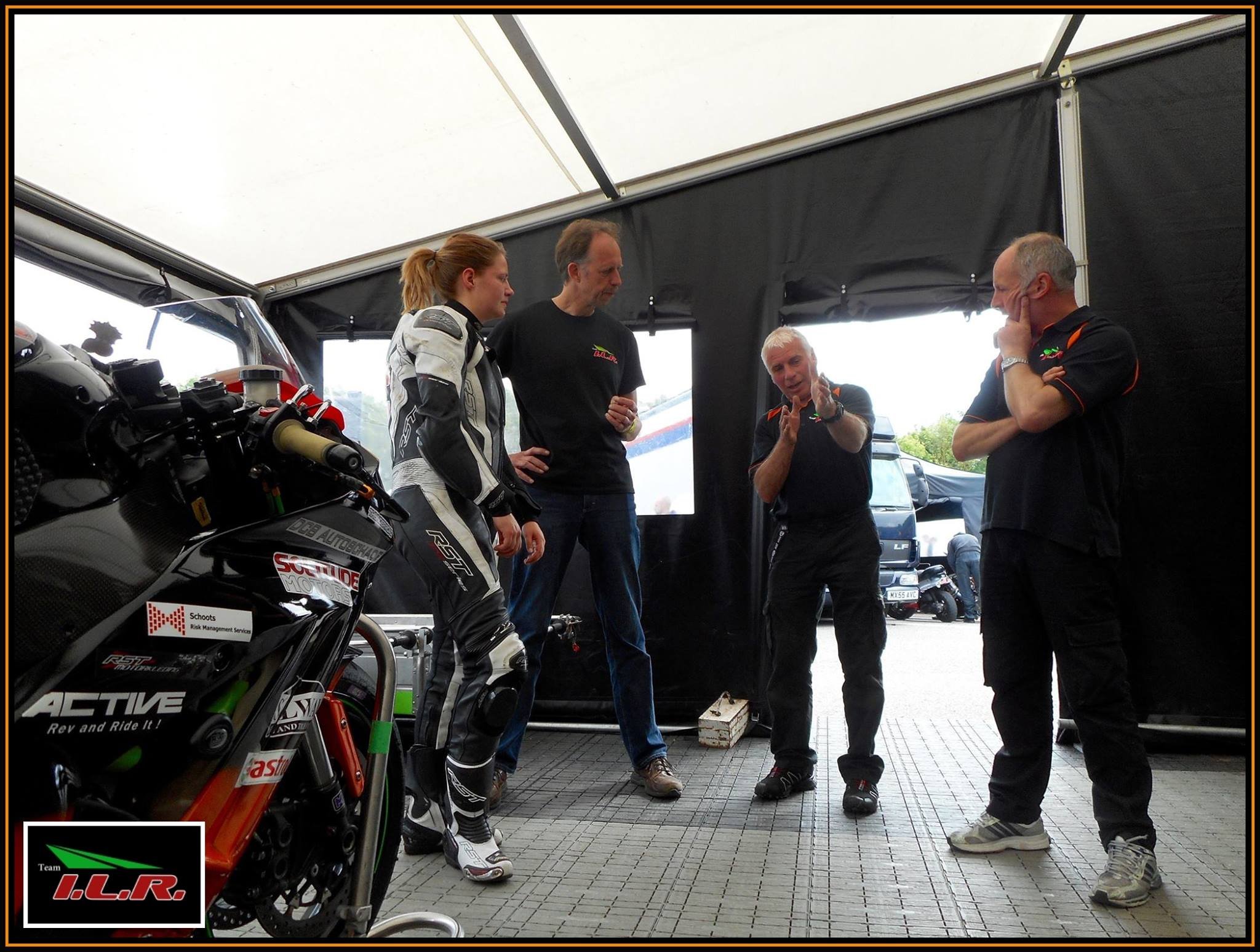 Getting some tips on line choice from my Team ILR mechanic Jacko.