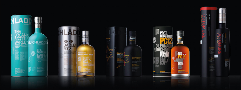 A range of premium whiskies from Bruichladdich.