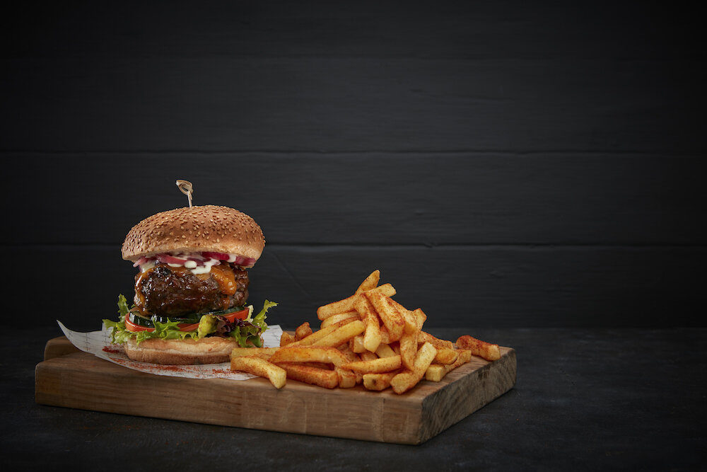 Gourmet beef burger and chips.jpg