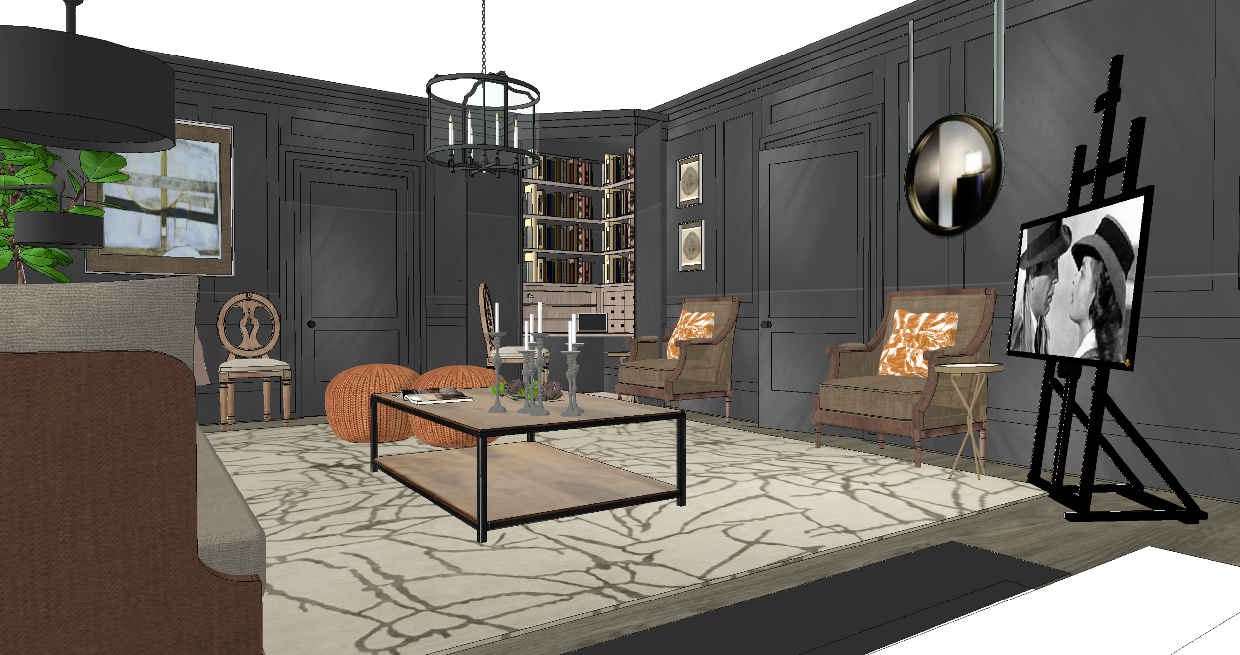Example 3D visual for sitting room, showing proposed furnishings.