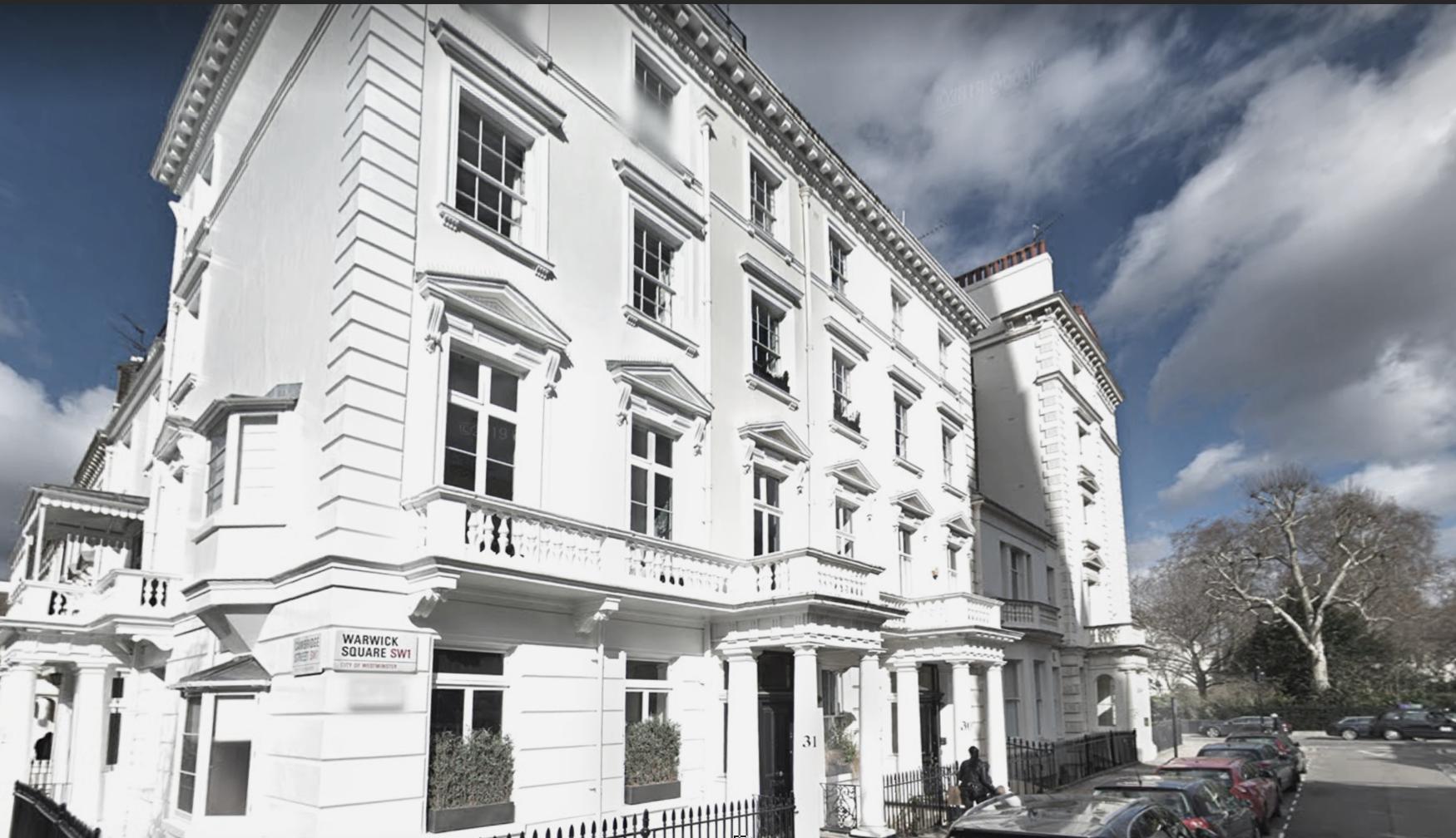 Warwick Square, 7 storey white stuccoed Victorian house in Pimlico