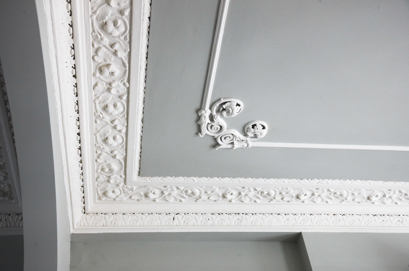 Detail of finishes on drawing room ceiling, to enhance the existing architectural details