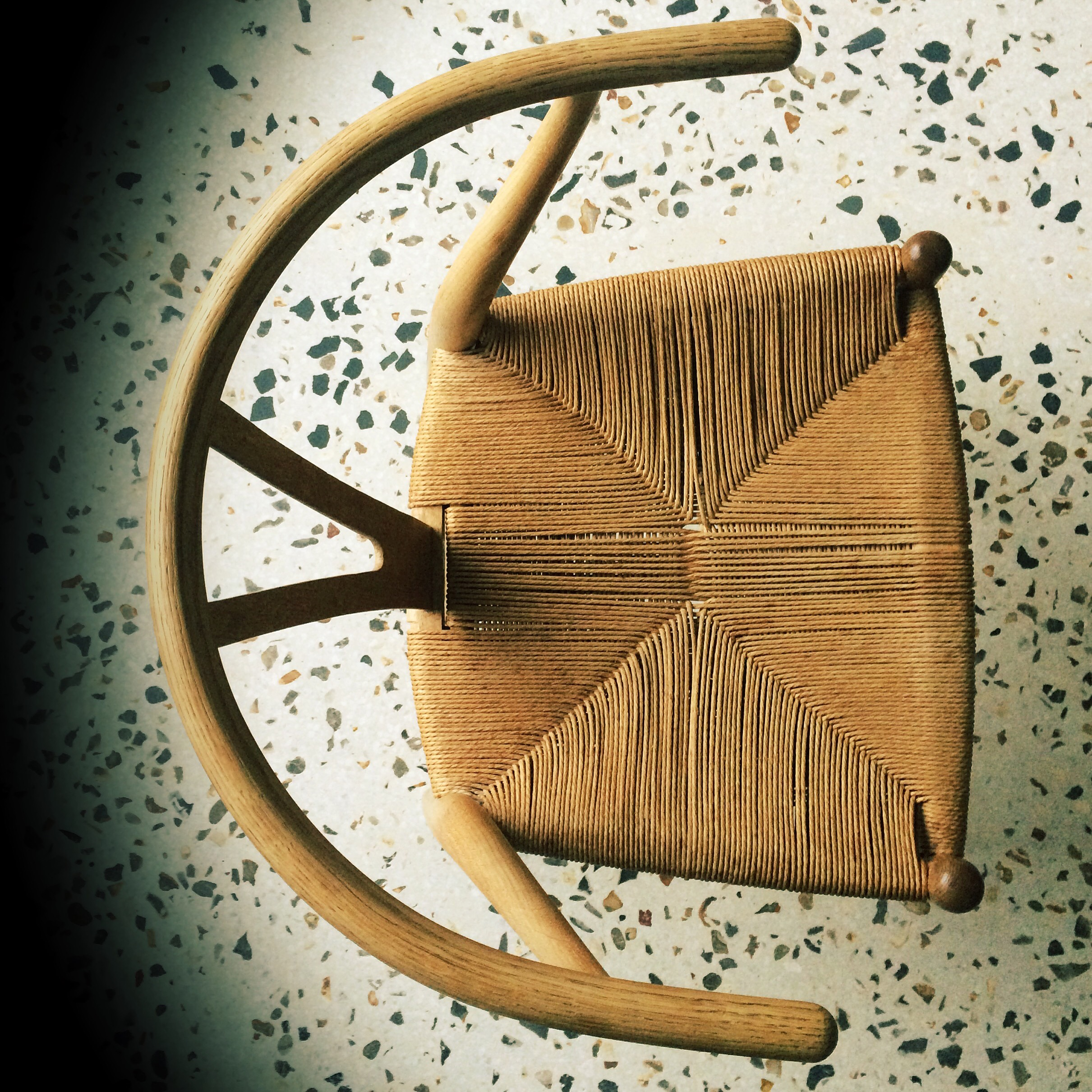 Wishbone chair on bespoke terrazzo floor