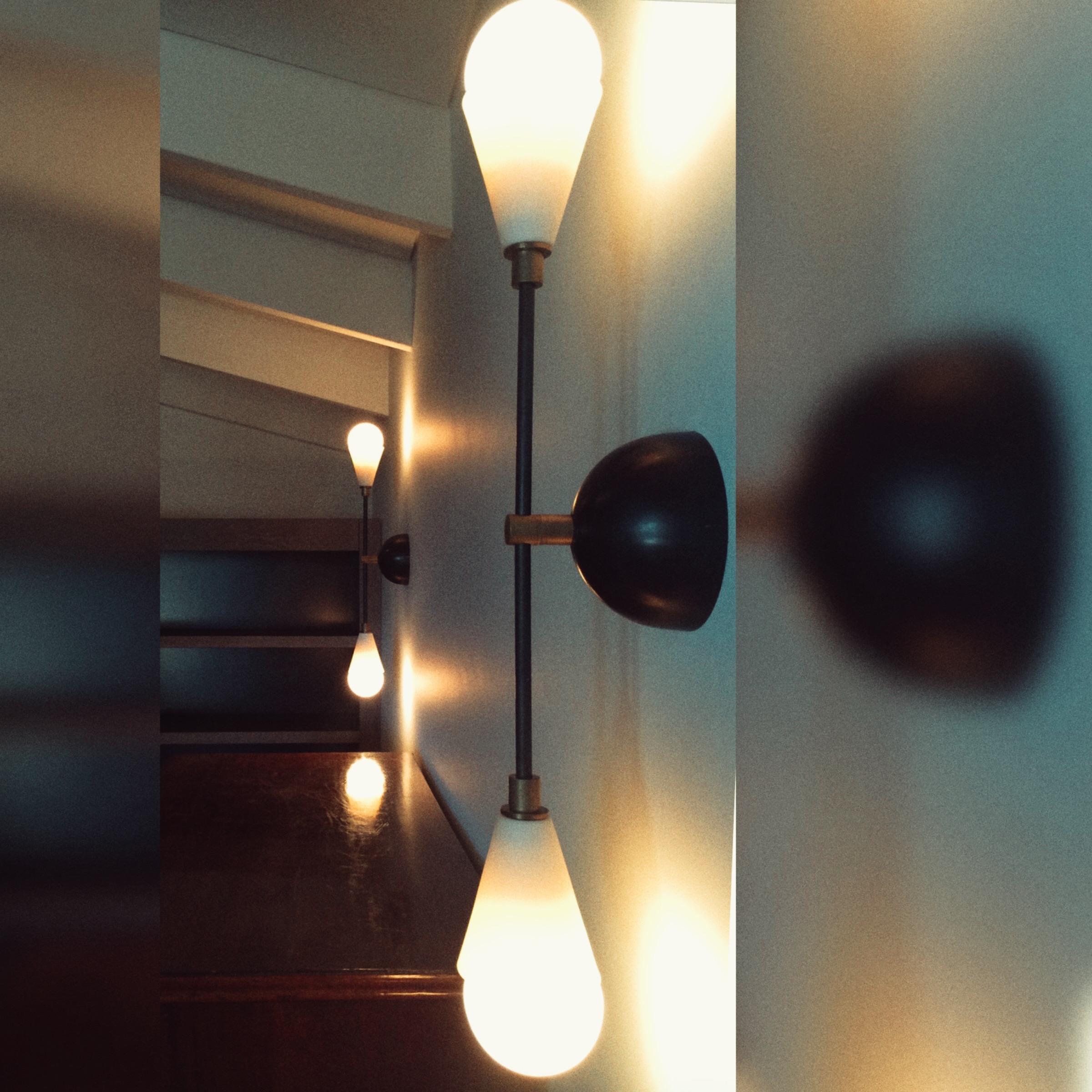 Dressing room with Apparatus NY wall lights