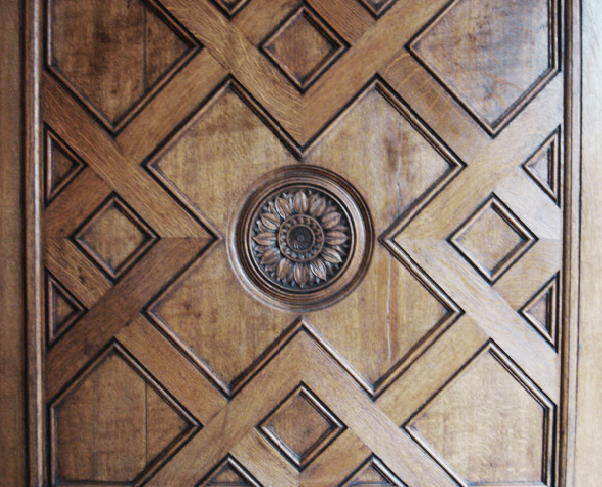 Restoration of existing wooden panelling in main drawing room by specialist french polishers