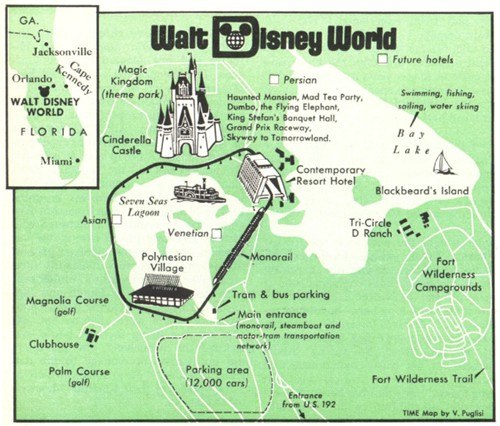 Guide map for Walt Disney World Resort circa 1971 (photo: orlandoweekly.com)