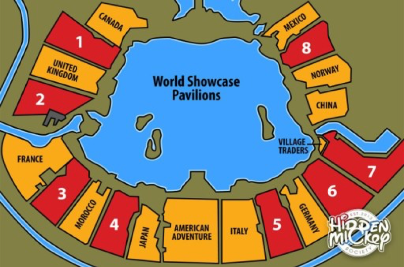 Imagine Greece and Egypt filling spaces 6 and 7!    Photo credit:    https://themouselets.com/lost-pavilions-of-epcot