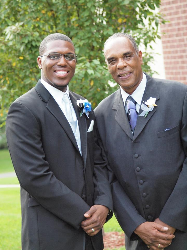 Teron (l) and Mr. Strader (r) on Teron's wedding day