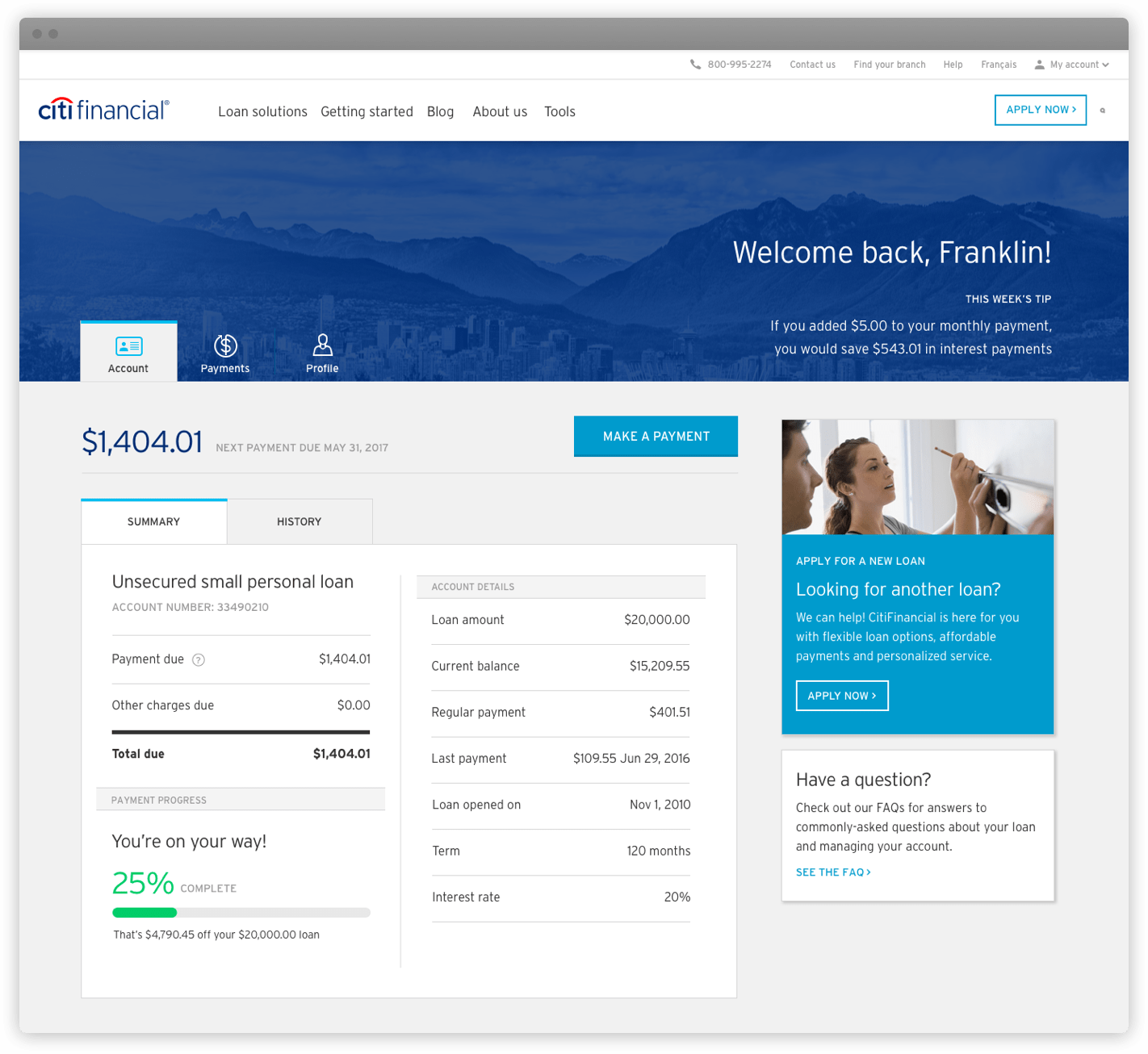 The desktop view of the account summary screen