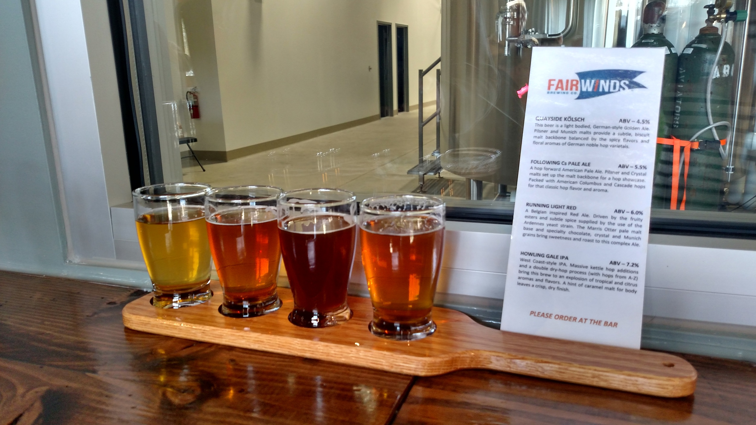 Here's the line up! Quayside Kolsch, Following Cs Pale Ale, Running Light Red and Howling Gale IPA.