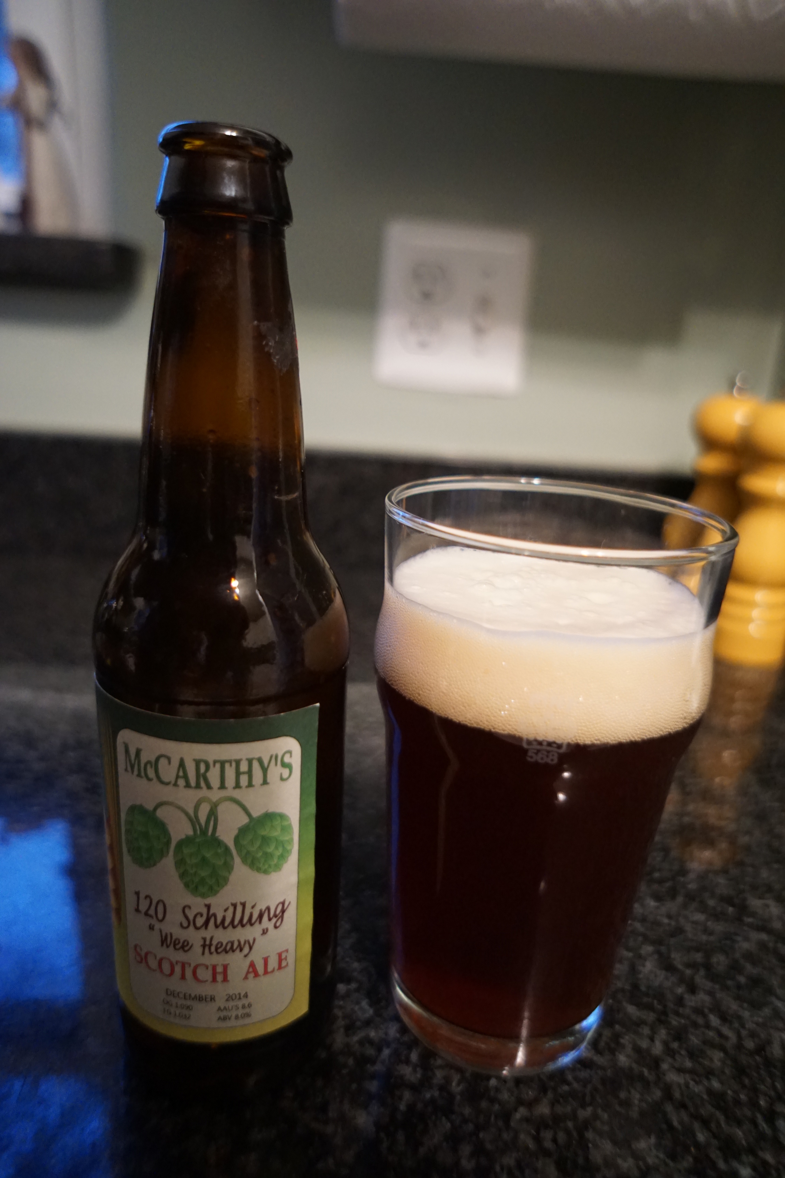 "Introducing McCarthy's 120 Schilling ""Wee Heavy"" Scotch Ale.  Look at that carbonation!"