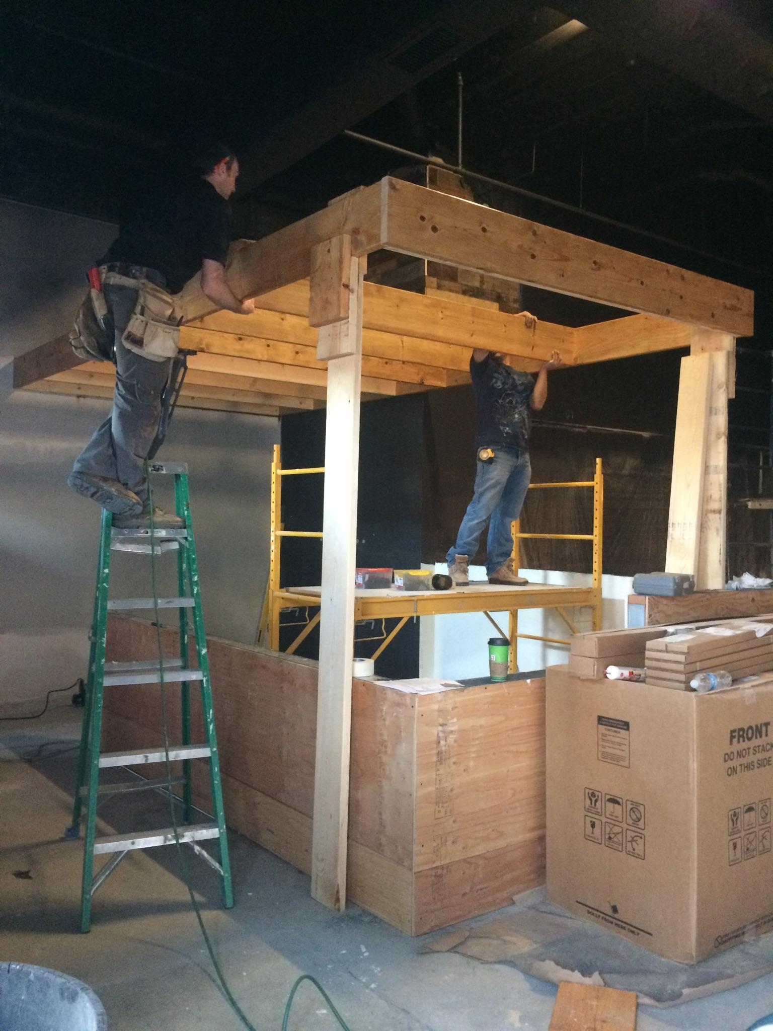 Building the trellis, before hanging it from the ceiling!