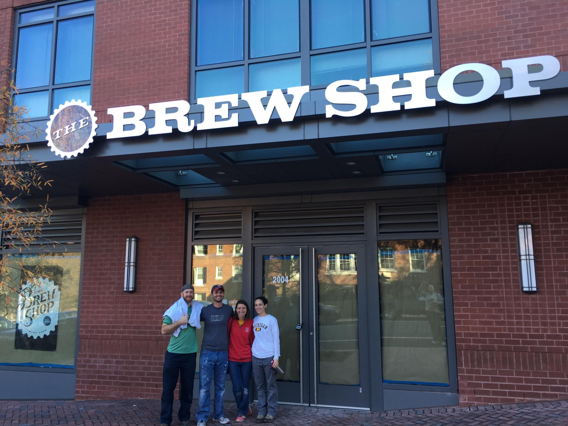 Us with The Brew Husbands after a hard day's work, under our exterior sign