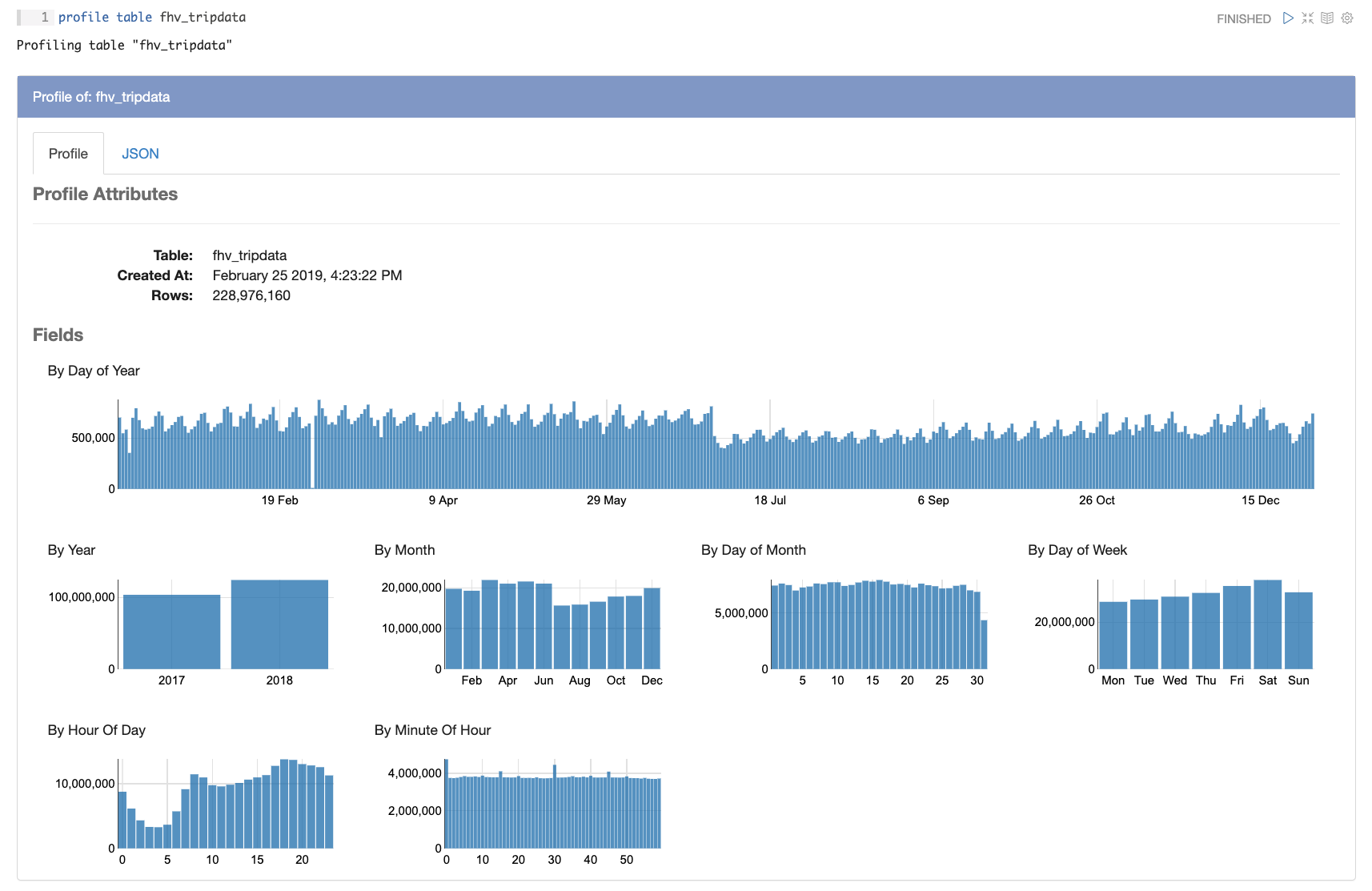 data profiling screengrab
