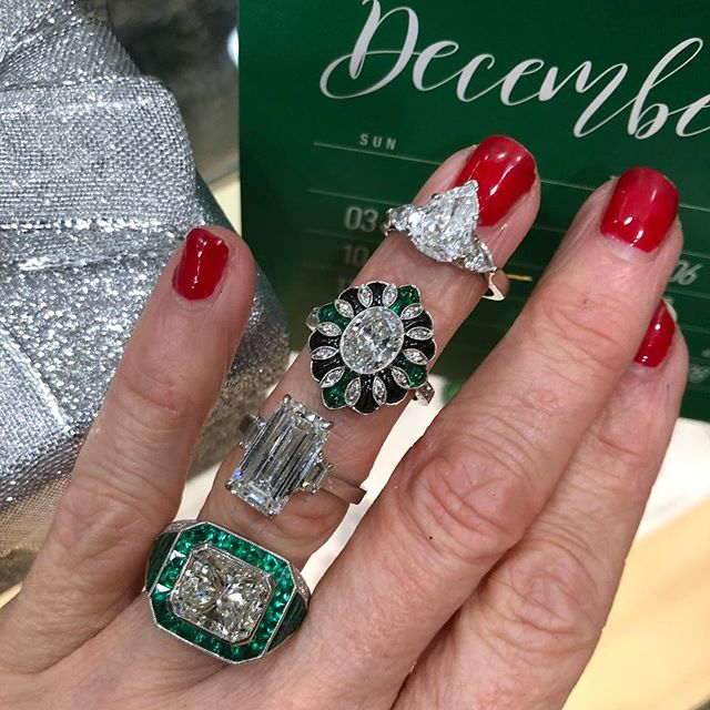 It's time! #oneofakind #gift that #sparkles #artdeco #emeralds #diamonds in our Birmingham showroom