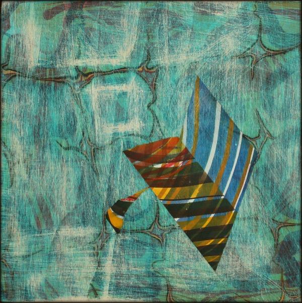 "Mindset, 2016 Marbled Wood Panel 8"" x 8"" x 2"""