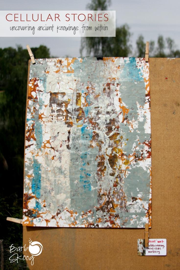 """""""Desert"""" work. Ocotillo rubbing, desert floor paint slide, marbling."""