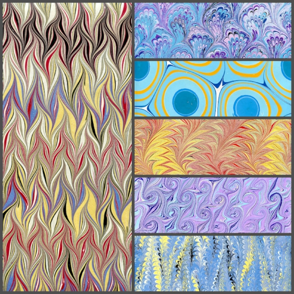 A sampling of some of the patterns taught in the 2-day Introduction to Marbling Class.