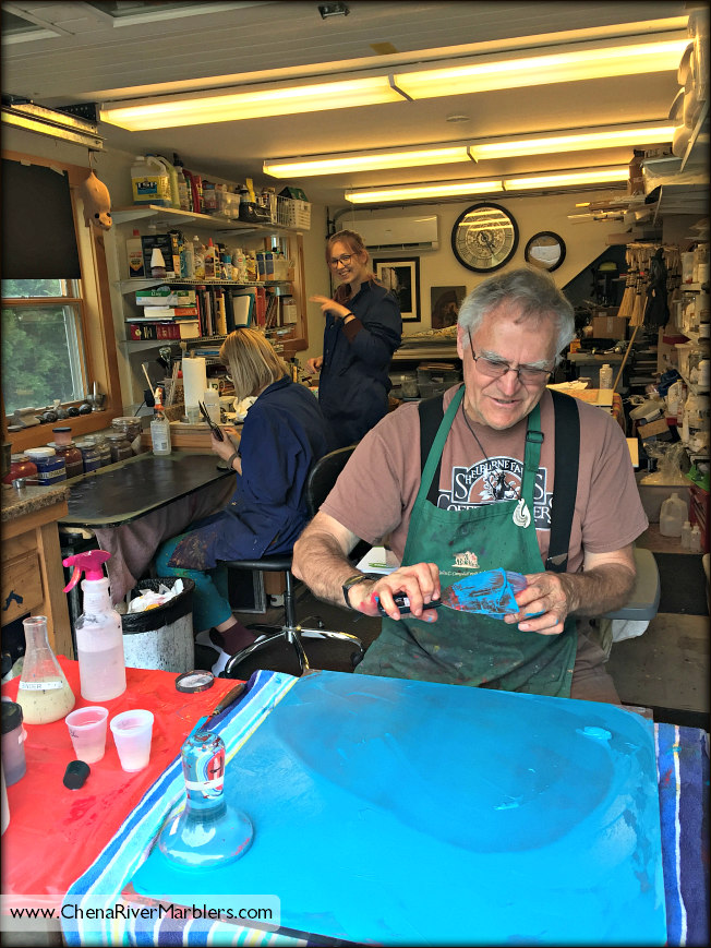 Dan makes all the watercolor paints for their Classic Watercolor Marbling class.