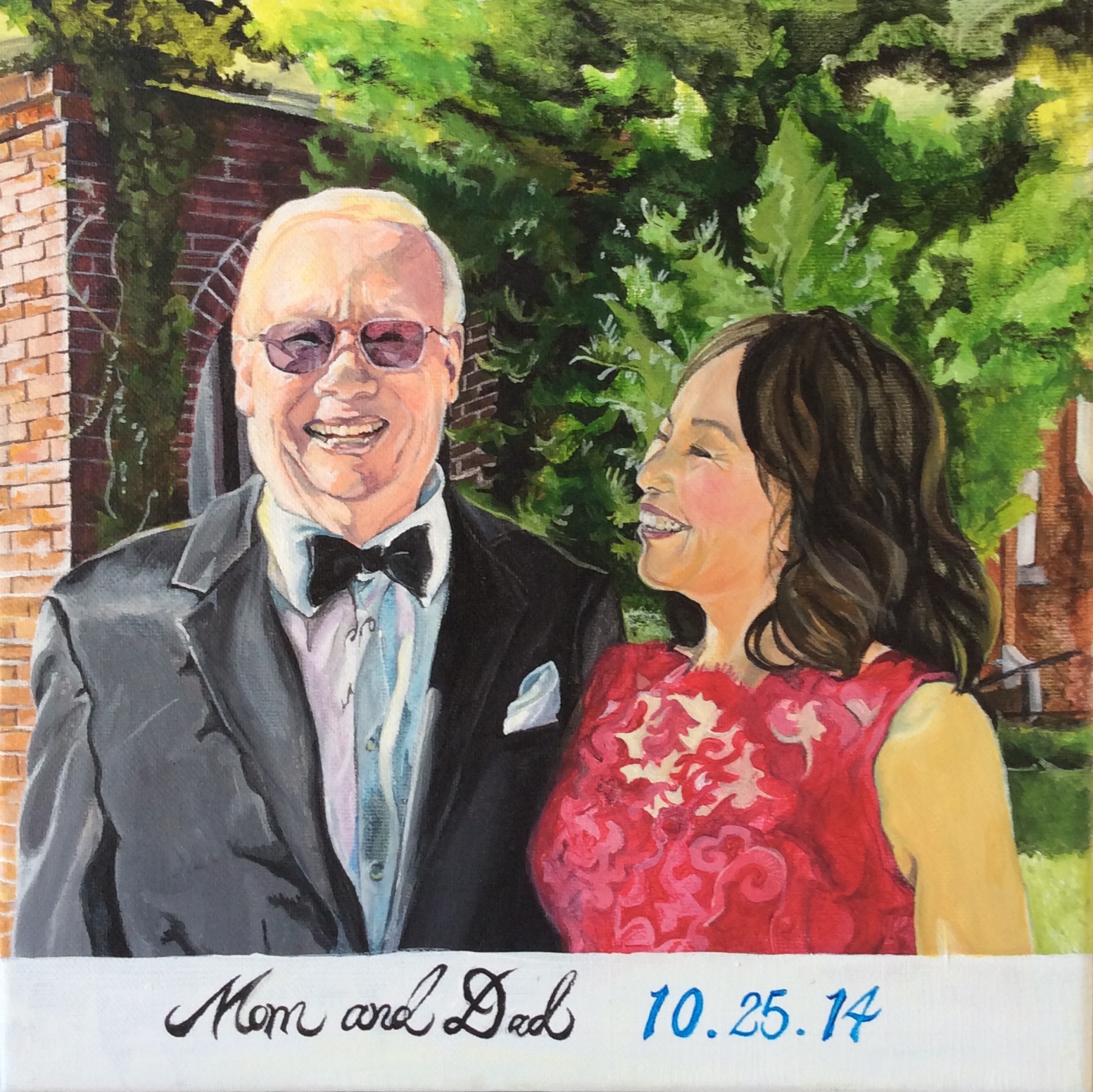 My Mom and Dad on my wedding day (I painted this in Dec 2014 as my Christmas gift to them)