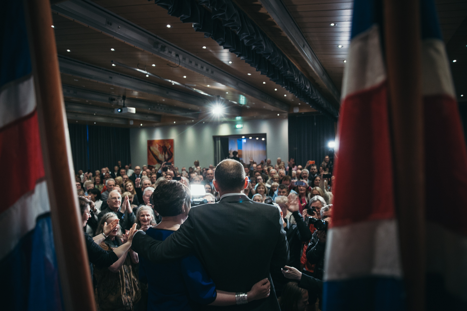 Guðni and his wife Eliza Reid entering his election party at Grand Hótel Reykjavík