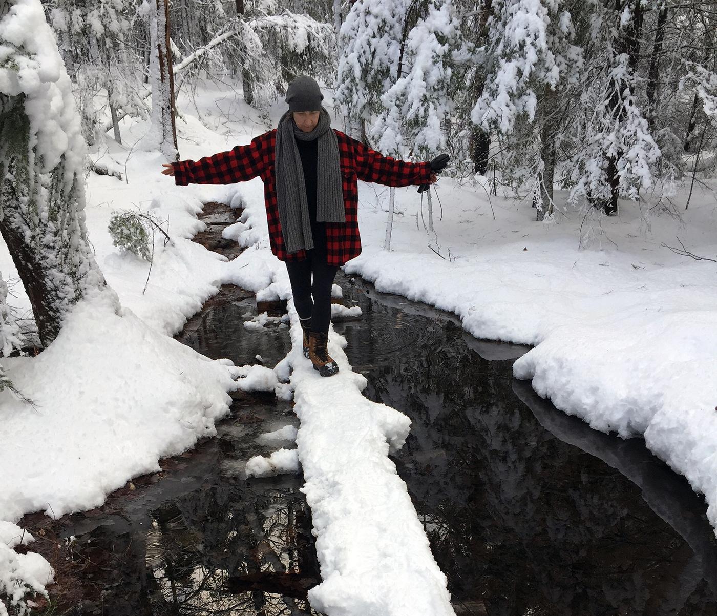Walking in Wofles Neck Woods wearing a vintage L.L.Bean wool jacket, Freeport, Maine. Winter 2017. Photo by my husband, Michael Galanos.