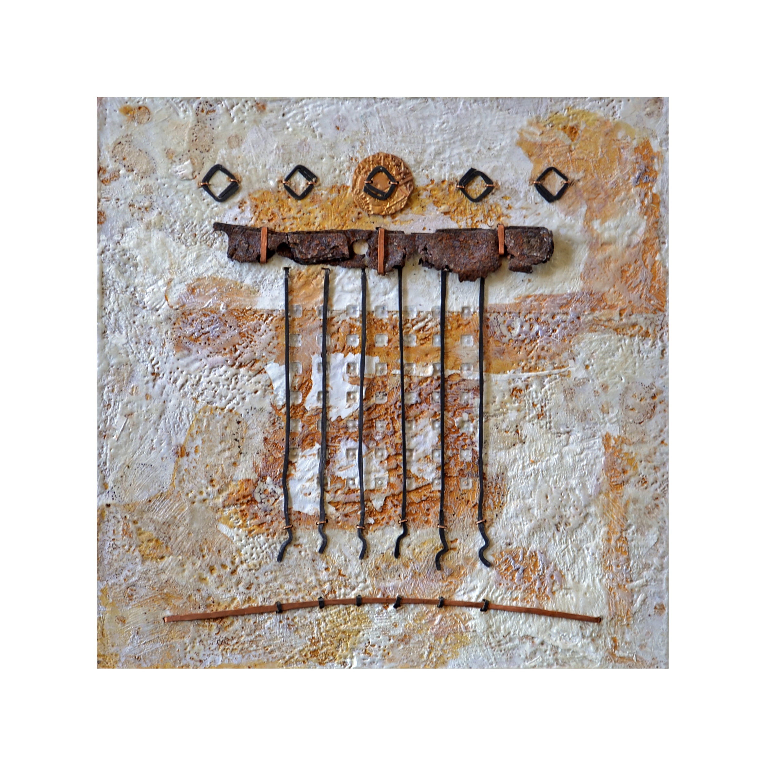 Conviction   10 x 10  Encaustic and Mixed Media on Panel  $200