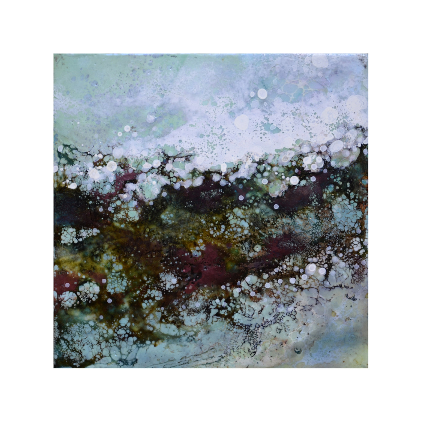 Effervescent Landscape 3   12 x 12  Encaustic on Panel  $300