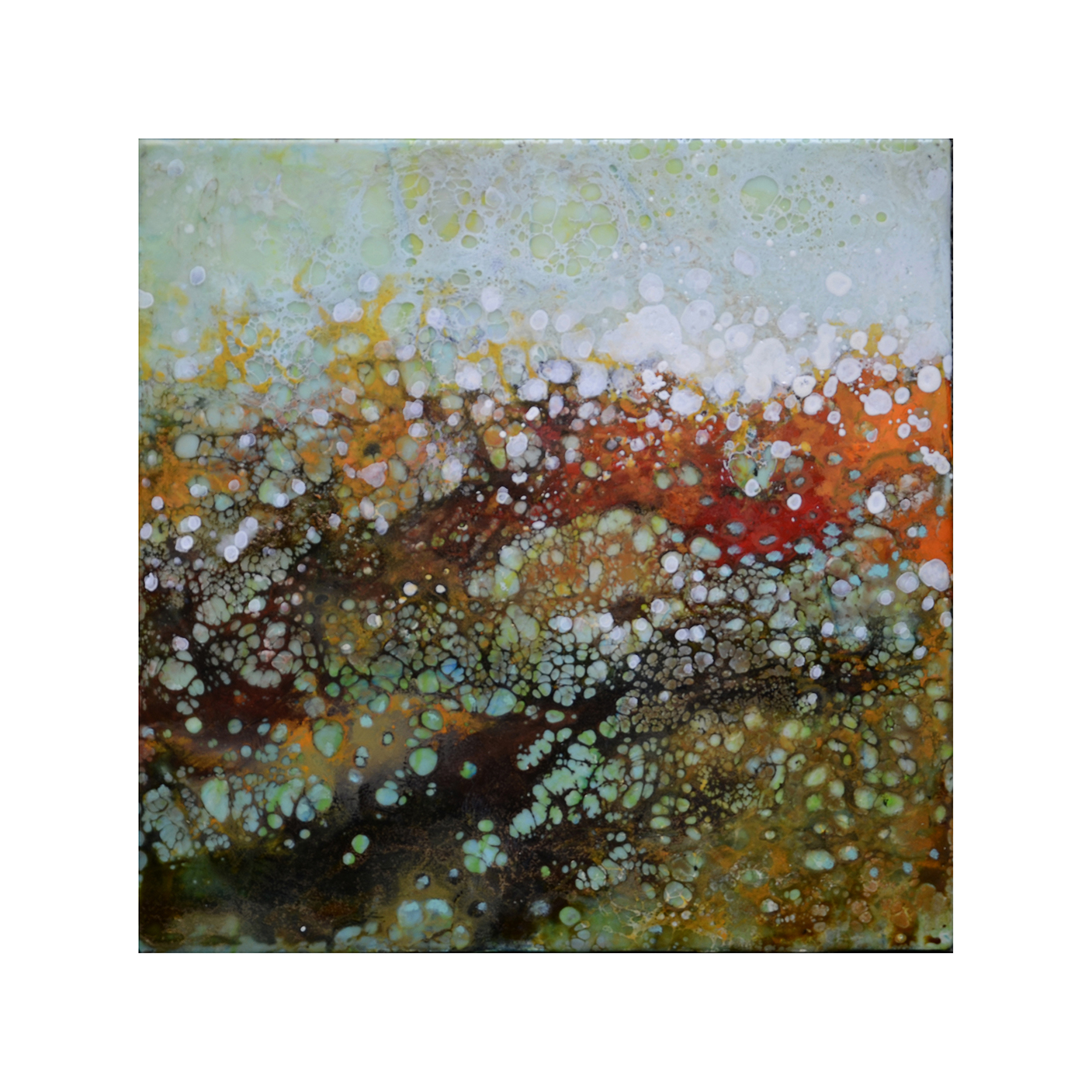 Effervescent Landscape 4   12 x 12  Encaustic on Panel  $300