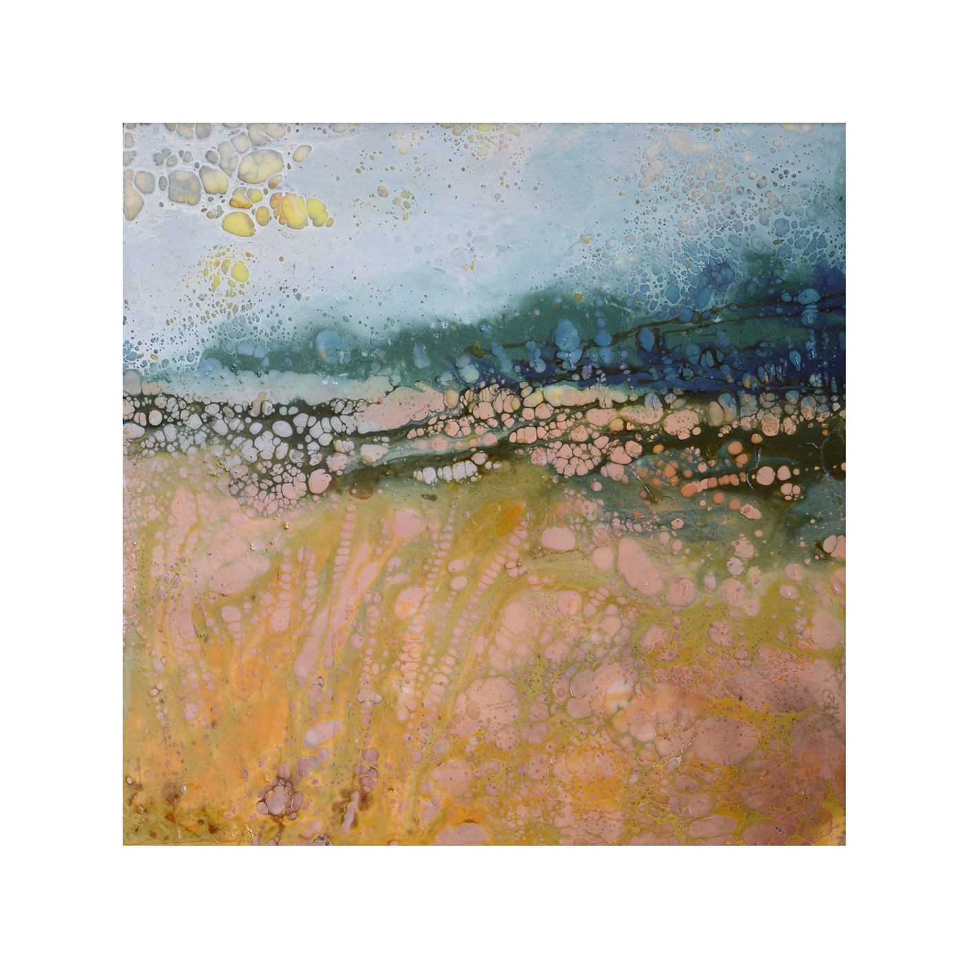 Pausing to Absorb it All   12 x 12  Encaustic on Panel  $300