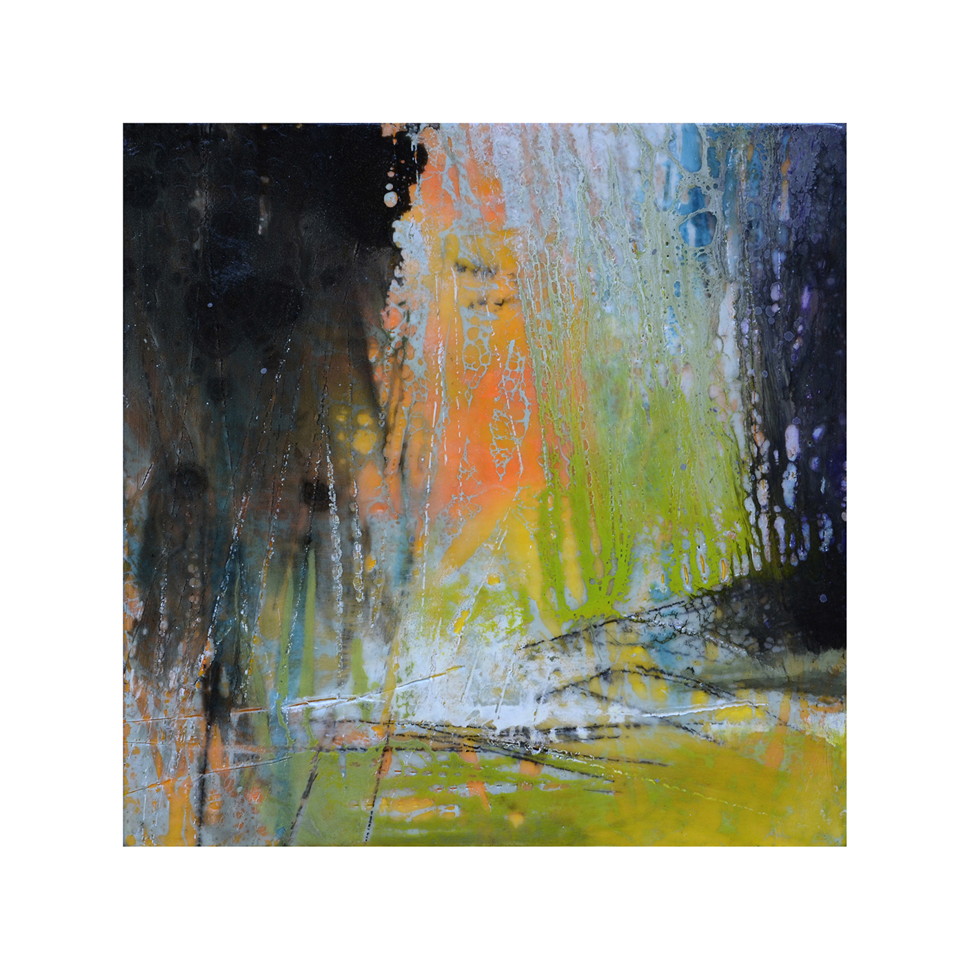 Tropical Immersion 2   12 x 12  Encaustic on Panel  $300