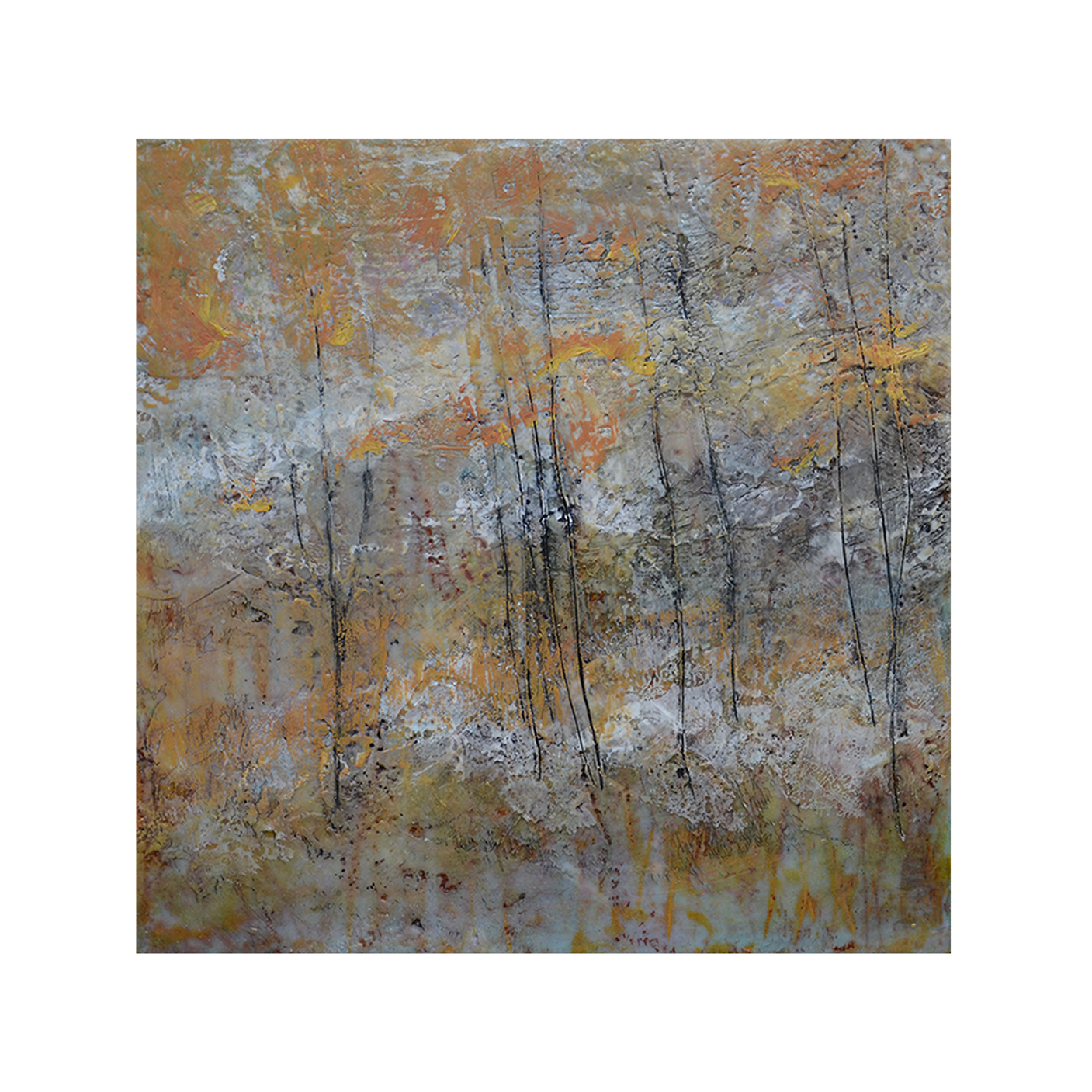 Wooded Hills   12 x 12  Encaustic on Panel  $300