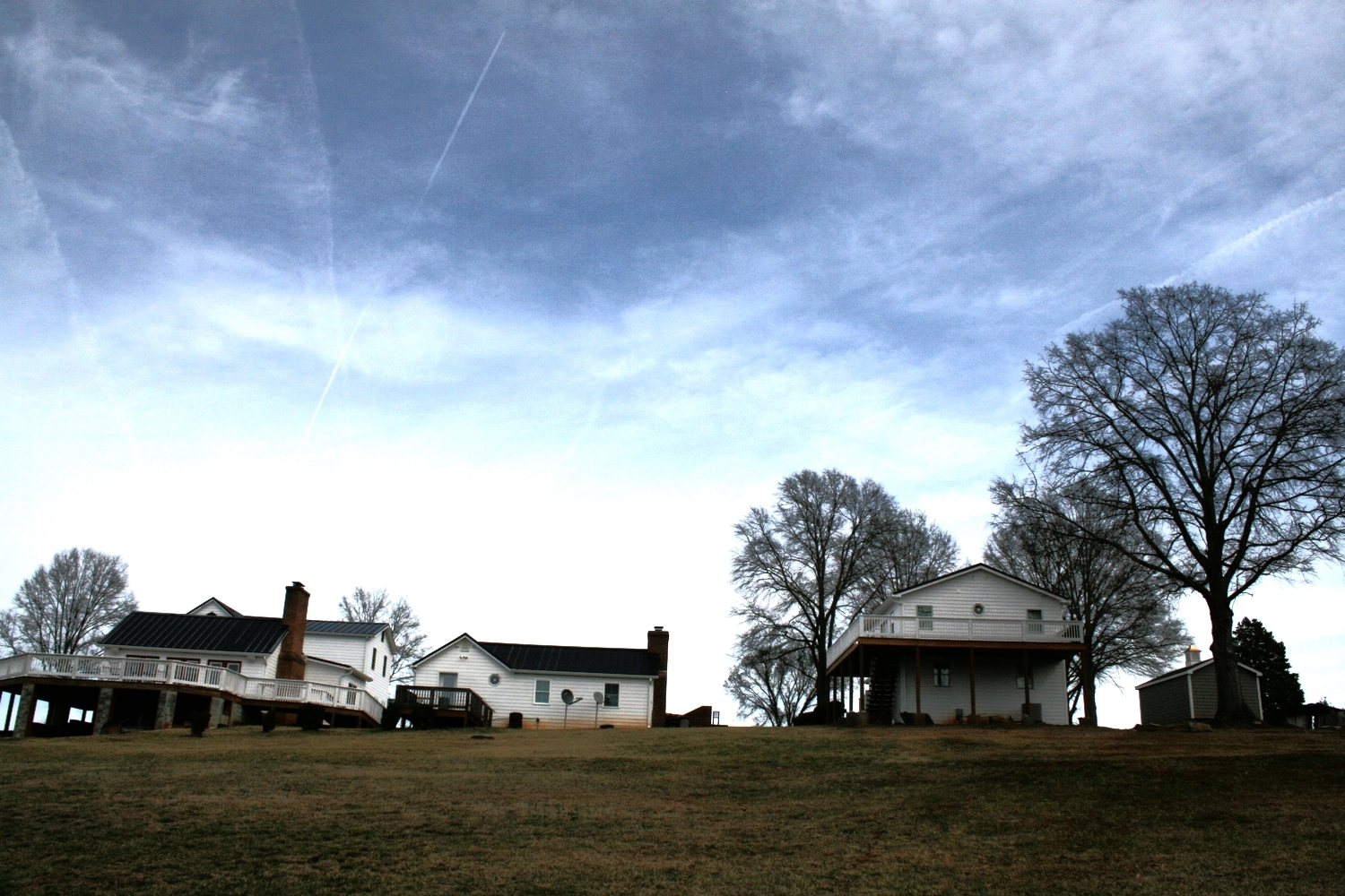 All three structures from behind. The Overlook is to the far right, the Tenant House is in the middle, and the Lodge is on the left.
