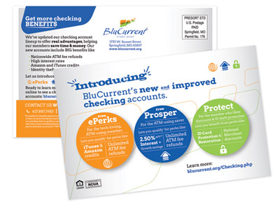 BluCurrent Checking Account Intro Postcards: 2013 Graphic Design USA Inhouse Design Award Winner