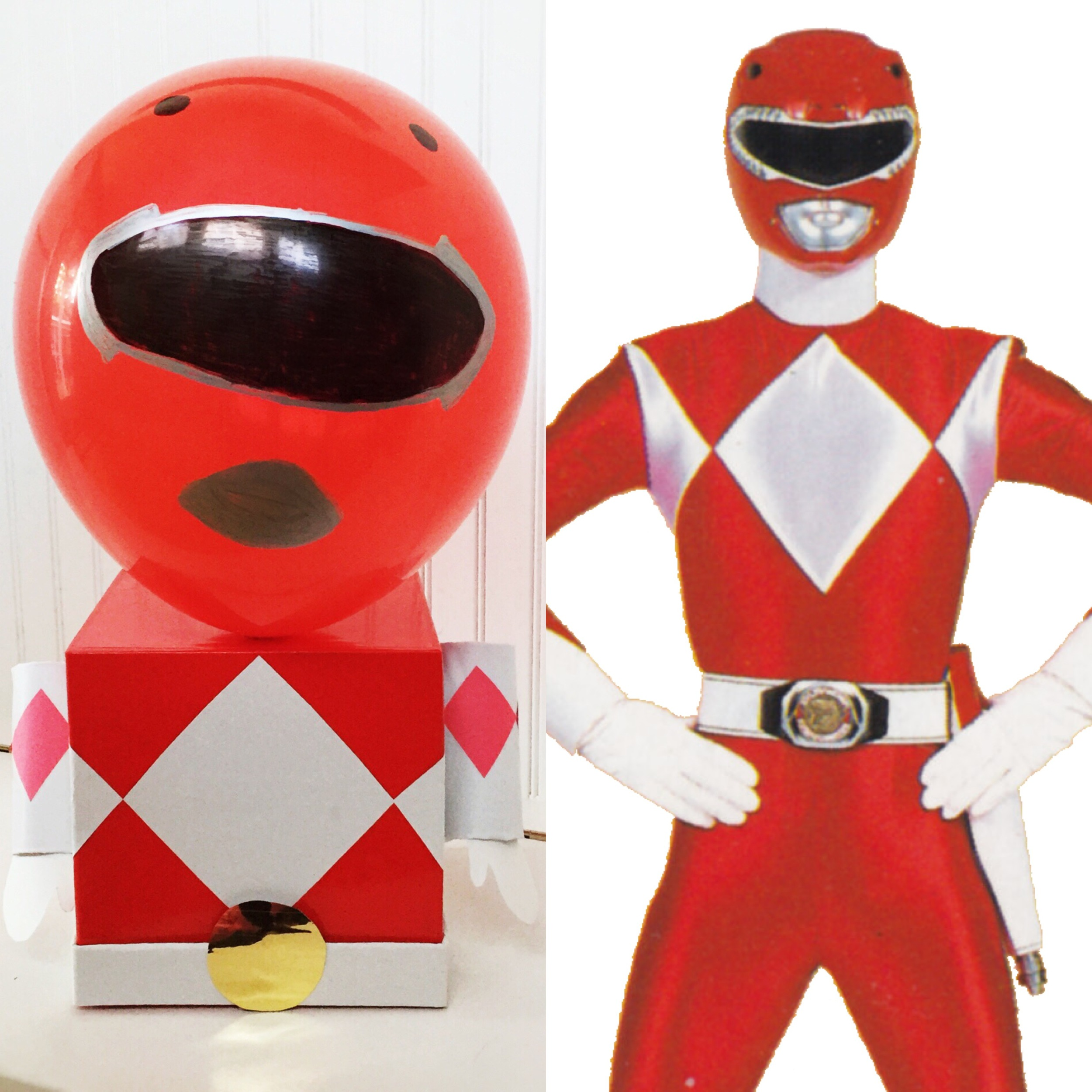 The finished box along with our Red Power Ranger inspiration pic.