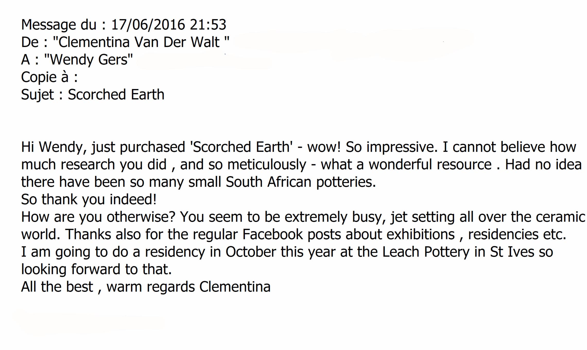 Clementina van der Walt, review, Scorched Earth