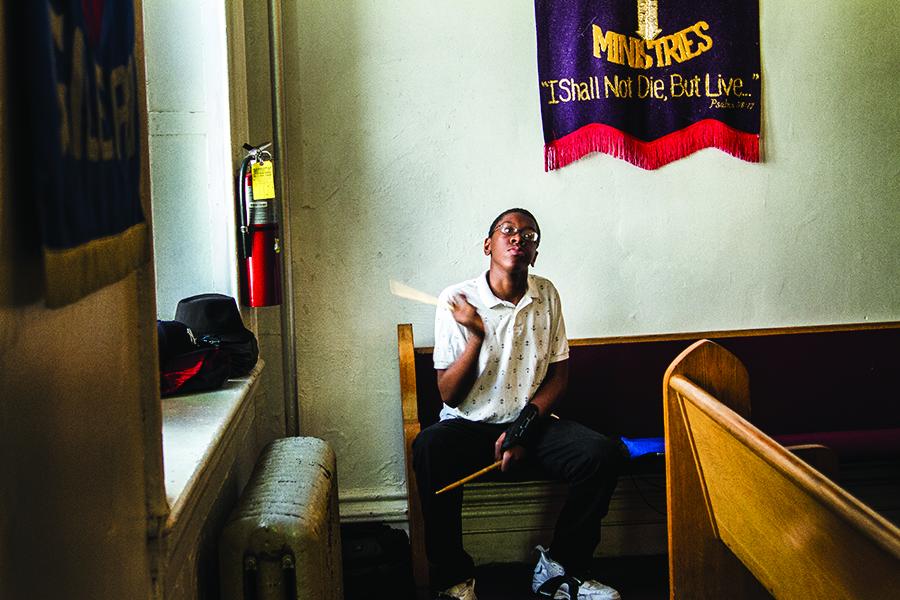 Hunts Point. Drummer, Bright Temple African Methodist Episcopal. 2014