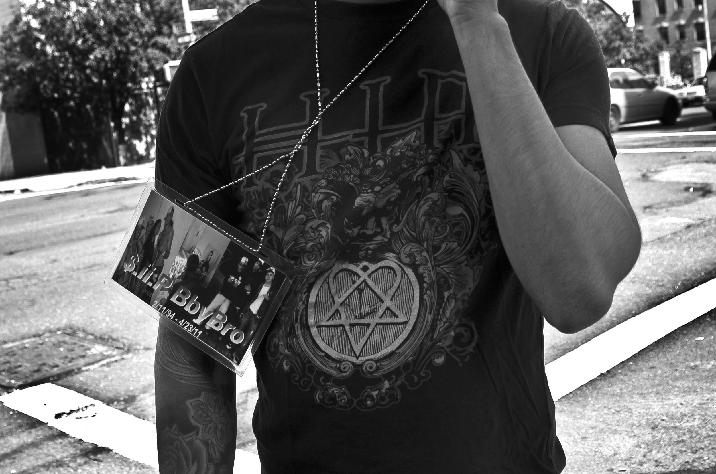 LOVE LIVES. RIP Medallion on Angel. Hunts Point, the Bronx, NYC. September 2012.