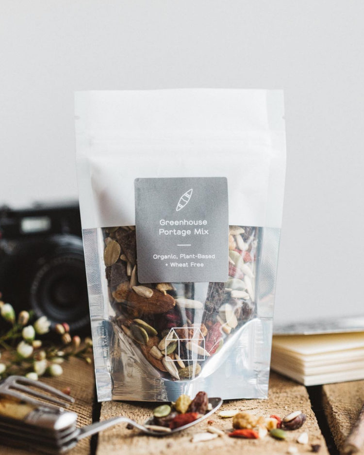 Product: Organic Superfood Trail Mix. Client: Greenhouse Juice Co. Project: recipe development + creation of SOPs for production + packaging design and execution