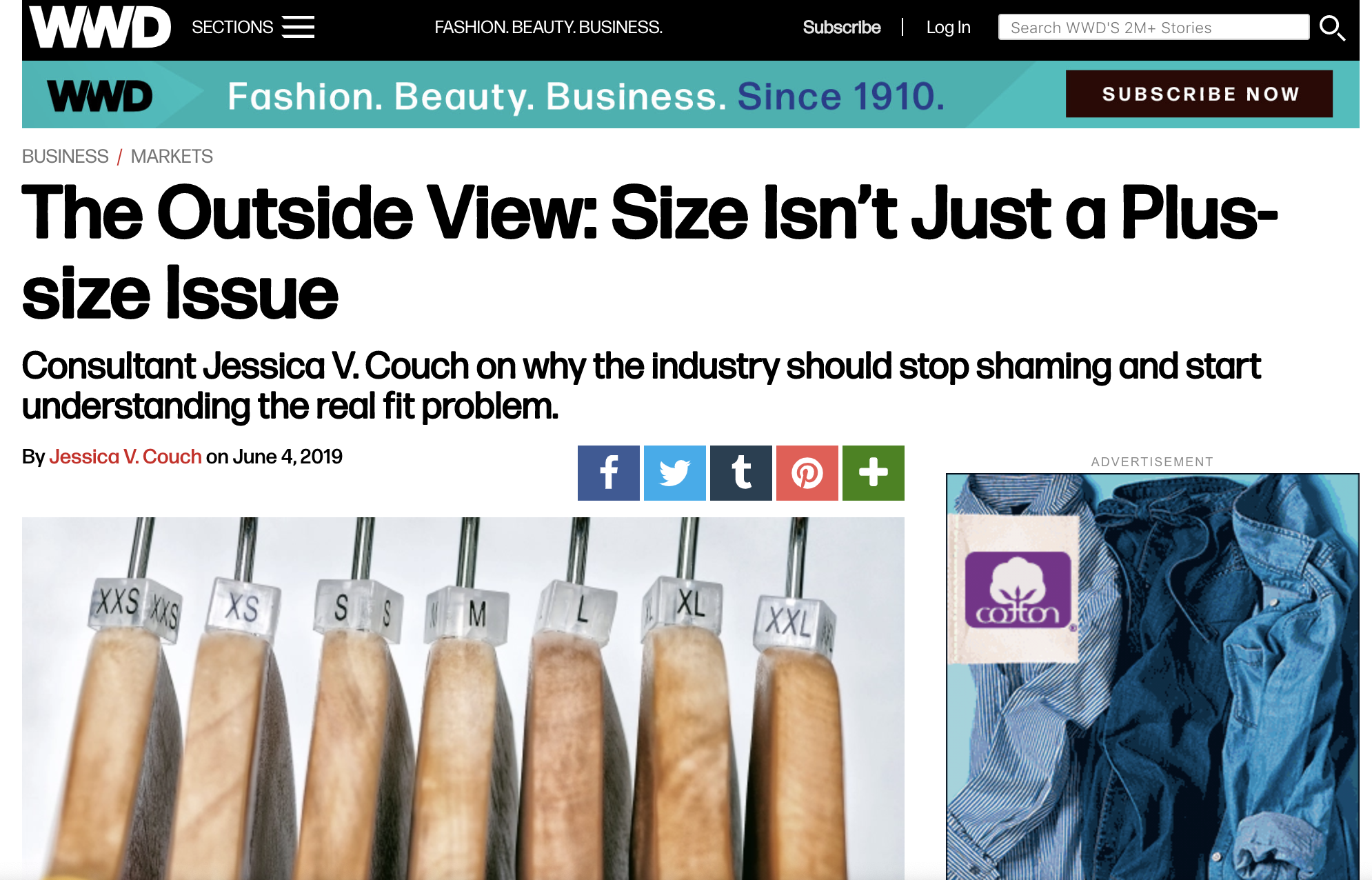 WWD: Size Article - Jessica Couch's article on size and the sizing issue.